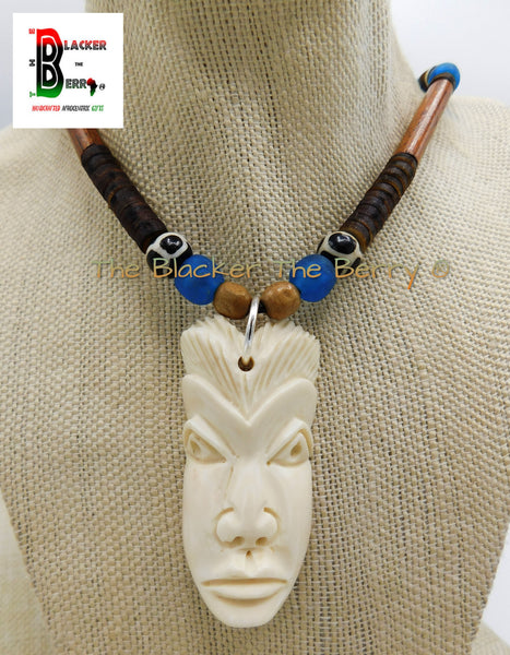 African Mask Necklace Beaded Jewelry Blue Wooden Carved OOAK Black Owned
