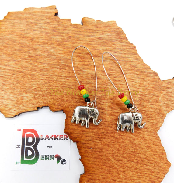 Silver Elephant Earrings Women Jewelry Rasta Beaded