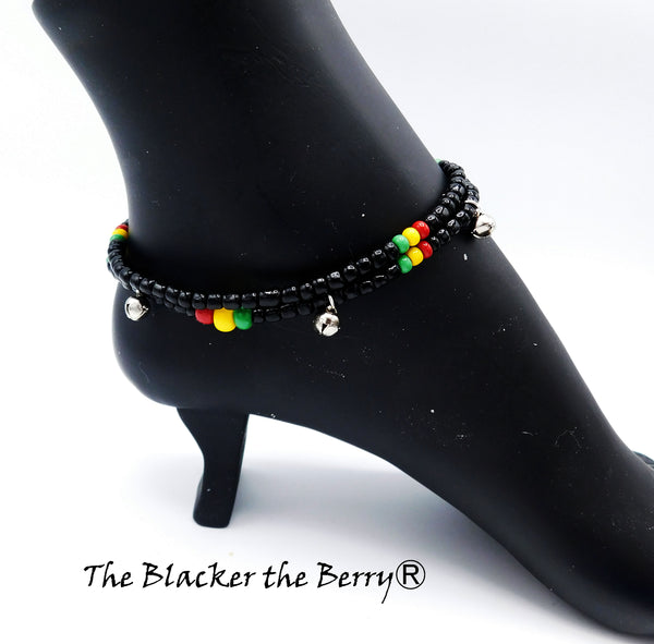 Rasta Anklet Beaded Jewelry Handmade Black Red Yellow Green