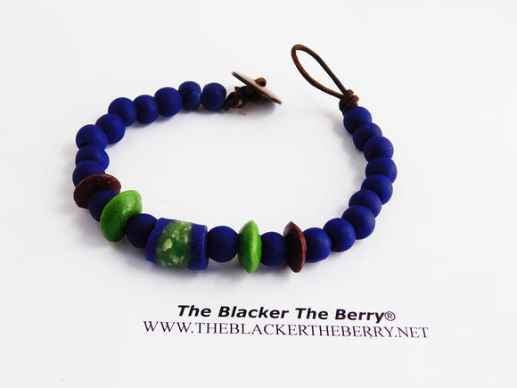 African Men Bracelet Blue Beaded Ethnic