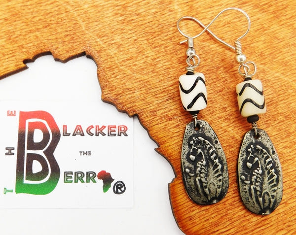 Zebra Earrings African Ethnic Pewter Jewelry Beaded Women