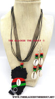 African Necklace Women Silhouette Hand Painted Jewelry The Blacker The BerryⓇ