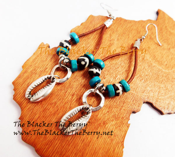 Cowrie Earrings Turquoise Silver Leather Jewelry Women The Blacker The Berry®