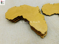 African Large Gold Hand Painted Coasters Handmade Home Decor 4 Set