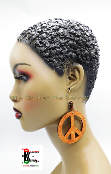Peace Earrings Wooden Jewelry Handmade Women