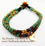Anklet Handmade Jewelry Heart Women Beaded Green