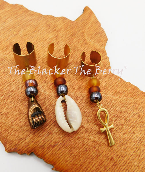 Hair Jewelry Ethnic Fist Accessories Cowrie Ankh Beaded Handmade
