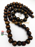 Men Large Wood Beaded Necklaces Bracelet Jewelry Set