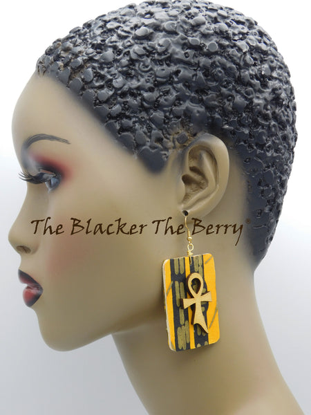 Ankh Earrings Yellow Gold Ankara Jewelry African Black Owned Business