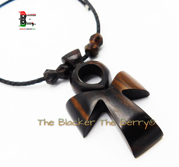 Ankh Wooden Necklaces Ebony Wood Jewelry Leather Handmade