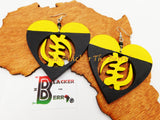 Gye Nyame Earrings African Adinkra Wooden Yellow Black Hand Painted