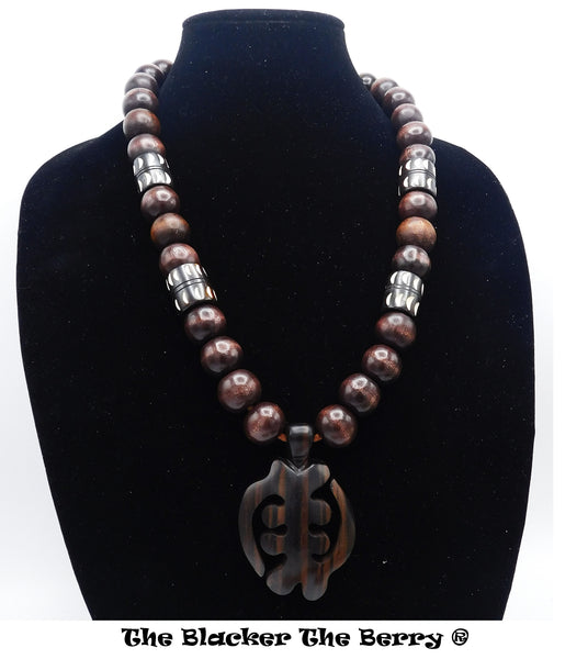 Gye Nyame Necklace Wooden Ebony Large Beaded African Adinkra Jewelry