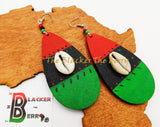 African Cowrie Earrings Wooden Jewelry RBG