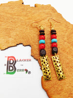Ethnic Earrings Long Red Turquoise Gold Tone Women Jewelry