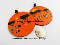 African Earrings Village Hand Painted Jewelry Orange Black