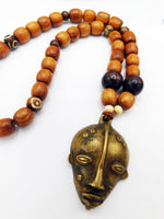 African Mask Necklace Men Jewelry Beaded Ethnic