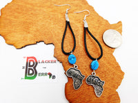 Africa Earrings Leather Black Blue  Women Jewelry