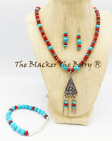 Bohemian Jewelry Set Turquoise Red Necklace Women Earring Bracelet