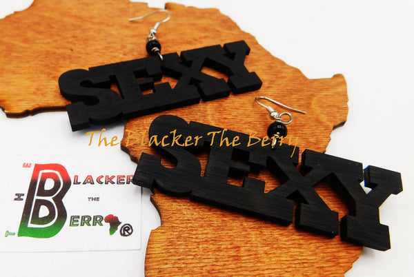 Sexy Earrings Wooden Hand Painted Black