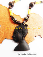 African Women Necklaces Beaded Jewelry Yellow Wooden Afrocentric