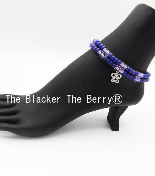 Butterfly Anklet Purple Beaded Jewelry Handmade Summer