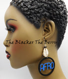 Afro Earrings Wooden Black Blue Cowrie Black Owned