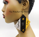 Large Hand Painted Earrings Black Gold Silver Wooden Jewelry