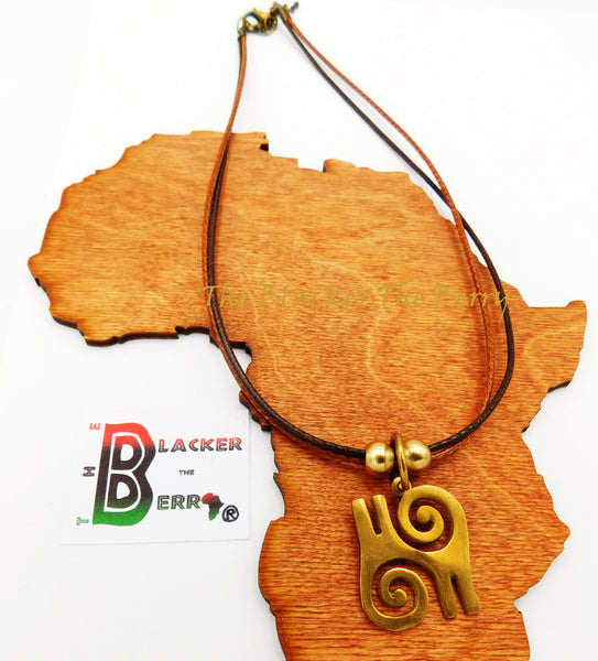African Necklaces Adinkra Jewelry Atiko Bravery Adjustable