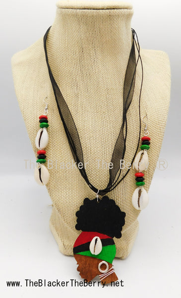 African Silhouette Jewelry RBG Pan African Necklace Earrings Hand Painted