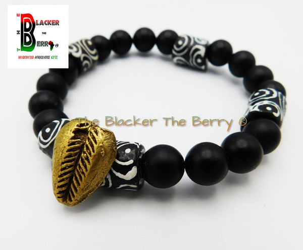 African Cowrie Bracelets Men Black White Beaded Jewelry Stretch