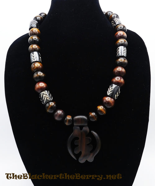 Men Gye Nyame Necklace Wooden Ebony Large Beaded African Adinkra Jewelry