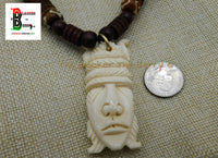 African Mask Beaded Jewelry Afrocentric Men Jewelry Ethnic Cream Brown