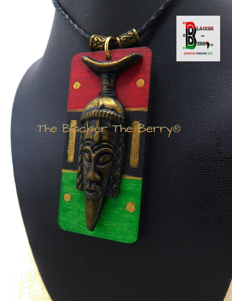 Men African Necklaces Handmade RBG Pan African Inspired Mask Hand Painted Jewelry
