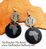 Africa Earrings Black Silver Handmade Hand Painted The Blacker The Berry®