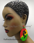 Rasta Earrings Woman Silhouette Hand Painted Red Yellow Green The Blacker The Berry®