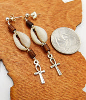 Ankh Post Earrings Small Cowrie Jewelry Women Beaded