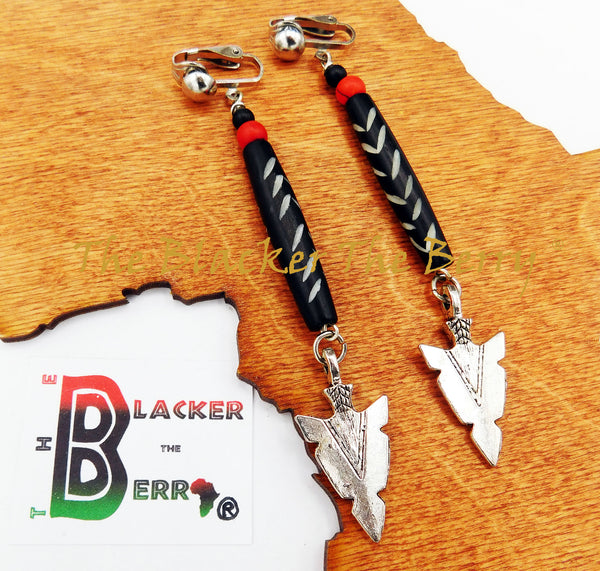 Ethnic Earrings Long Clip On Women Silver Arrowhead  The Blacker The Berry®