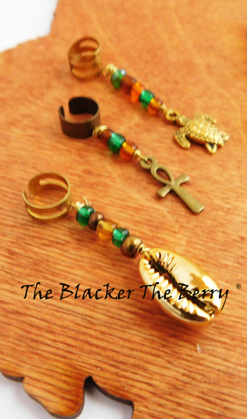 Hair Jewelry Beaded Gold Turtle Ankh Cowrie Shell