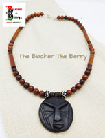 African Mask Necklace Beaded Jewelry Afrocentric Ethnic Ebony Wood