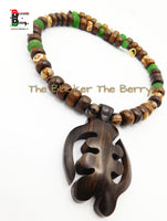 Gye Nyame Necklaces Men Jewelry Beaded Wooden Green OOAK