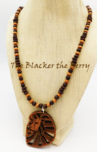 Lion Necklace Wooden Beaded Jewelry The Blacker The Berry