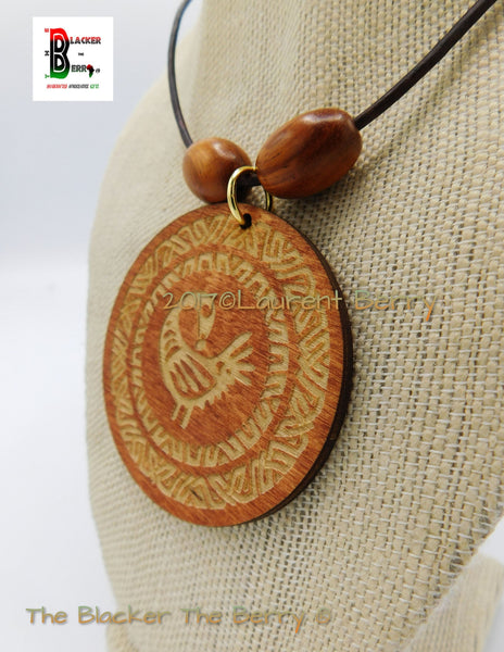 Sankofa Necklace African Ethnic Wooden Afrocentric Jewelry Black Owned