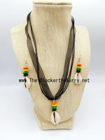 Ethnic Jewelry Beaded Necklaces Green Orange Black Yellow