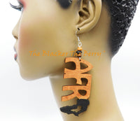African Earrings Hand Painted Women Black Wooden Jewelry