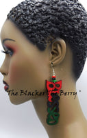 Blessed Earrings RBG Hand Painted Handmade Wooden Jewelry