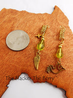 Hair Jewelry Gold Tone Christian Green Beaded