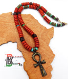 Ankh Necklace Red Turquoise Beaded Jewelry Women The Blacker The Berry®