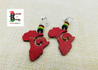Africa Clip On Earrings Red Beaded Non Pierced Wooden Jewelry