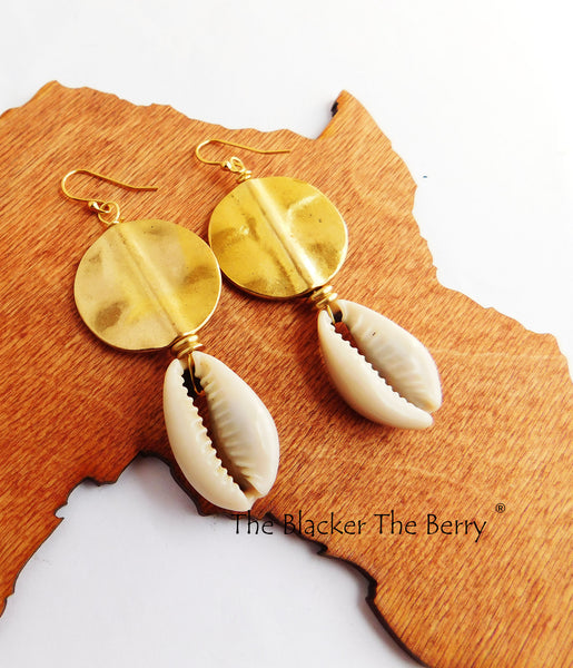 Ethnic Earrings Gold Tone Cowrie Shell Jewelry