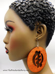 African Earrings Large Gye Nyame Wooden Ethnic Afrocentric Handmade